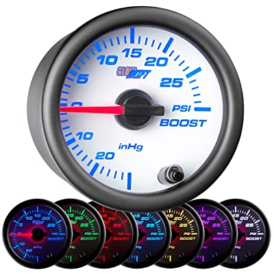 "GlowShift White 7 Color 30 PSI Turbo Boost/Vacuum Gauge Kit - Includes Mechanical Hose & T-Fitting - White Dial - Clear Lens - for Car & Truck - 2-1/16"" 52mm: Automotive"