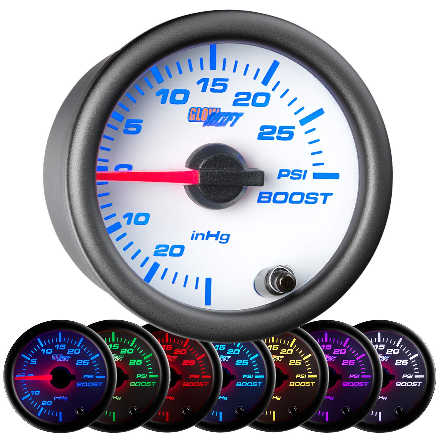 GlowShift White 7 Color 30 PSI Turbo Boost/Vacuum Gauge Kit - Includes Mechanical Hose & T-Fitting - White Dial - Clear Lens - For Car & Truck - 2-1/16'' 52mm