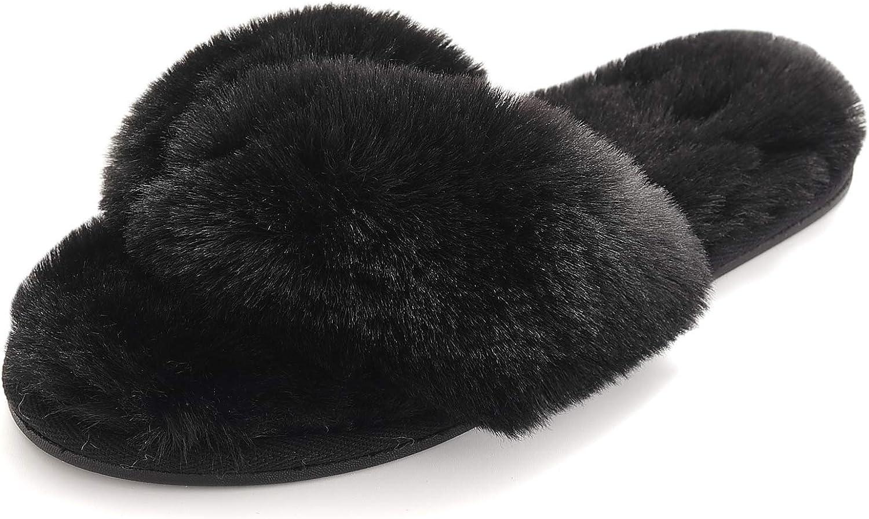 Fuzzy Slippers, Open Toe Plush Furry