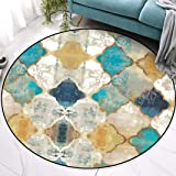 Vintage Round Rug Large Soft Touch Printed Geometric Morocco Floor Mat Large Carpet for Living Room Bedroom (Round,100cm…