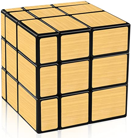 D-FantiX Shengshou Mirror Cube 3x3 Speed Cube Gold Mirror Blocks Cube 3x3x3 Different Shapes Puzzle Cube Toys for Kids Adult