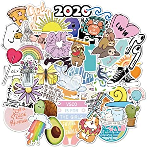 Water Bottle Various Cute Animals/Plants Stickers (75pcs) for Laptop Water Bottle Luggage Snowboard Bicycle Skateboard Decal for Kids Teens Waterproof Aesthetic Stickers (Cute Stickers)