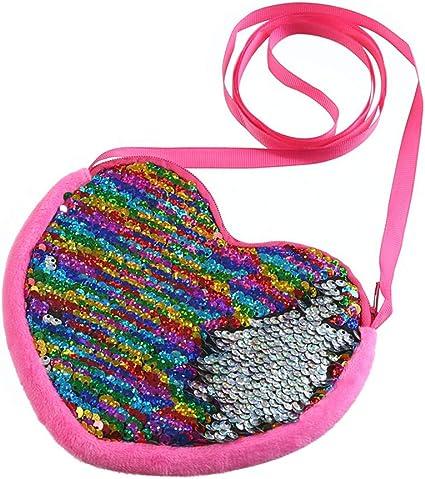 a Forma Di Cuore Paillettes Zipper Wallet Pouch Con Tracolla Borsa a Tracolla Borse Del Sacchetto Della Moneta Per Bambini Bambine