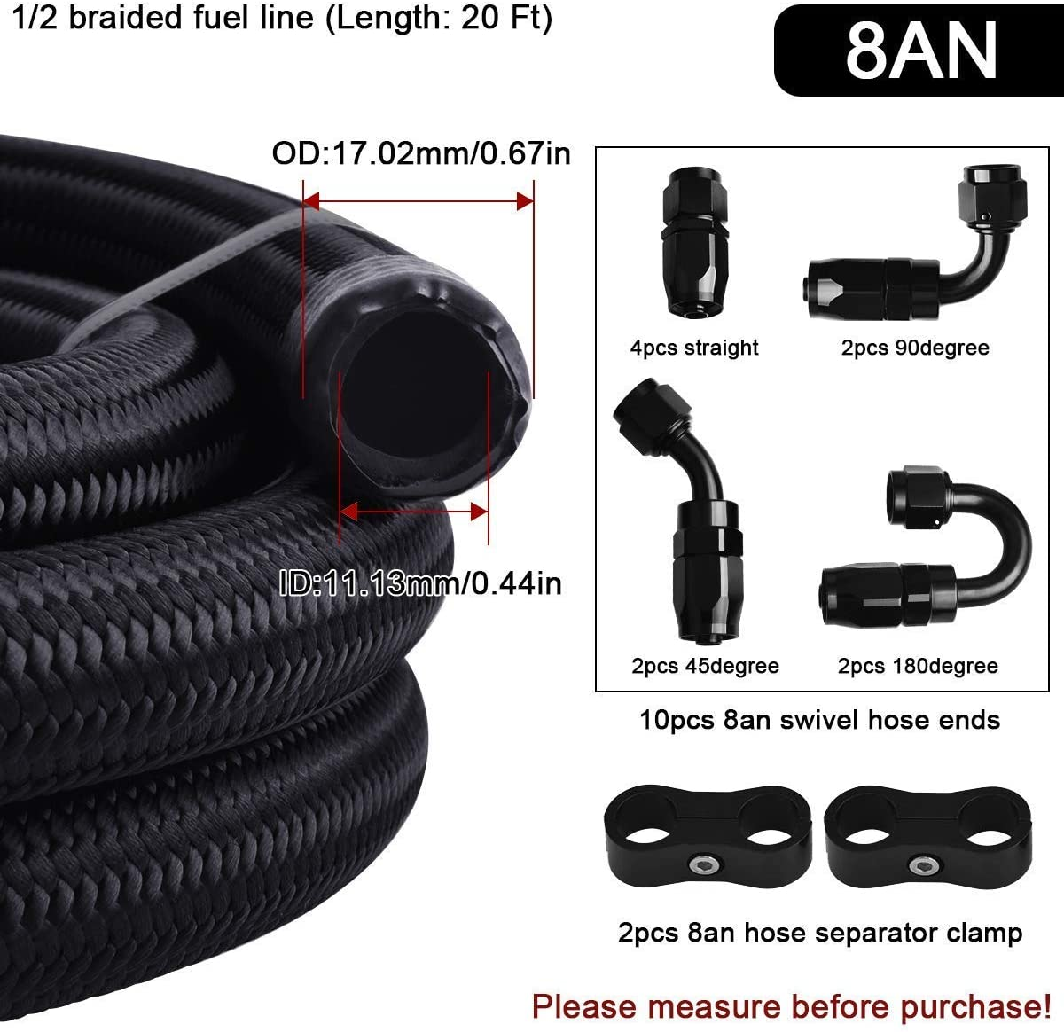 EVIL ENERGY 20FT 8AN Nylon Braided CPE Fuel Line Fitting Kit Bundle with 4pcs//Pack Fuel Hose Separator Clamp