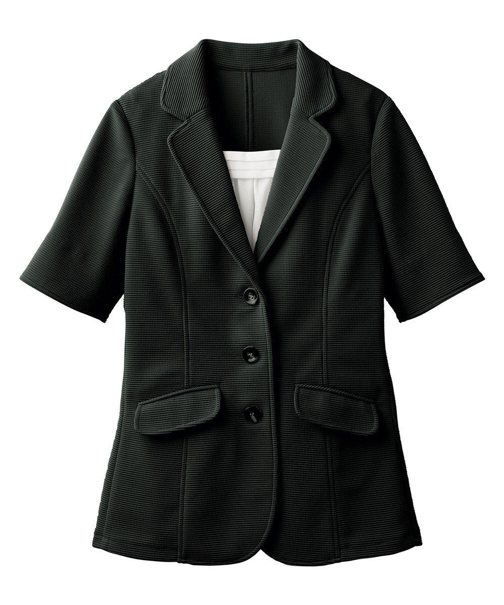 [nissen(ニッセン)] 前当て付5分袖カットソーテーラードジャケット 大きいサイズ レディース B07D8PF1JF 19号|ブラック ブラック 19号