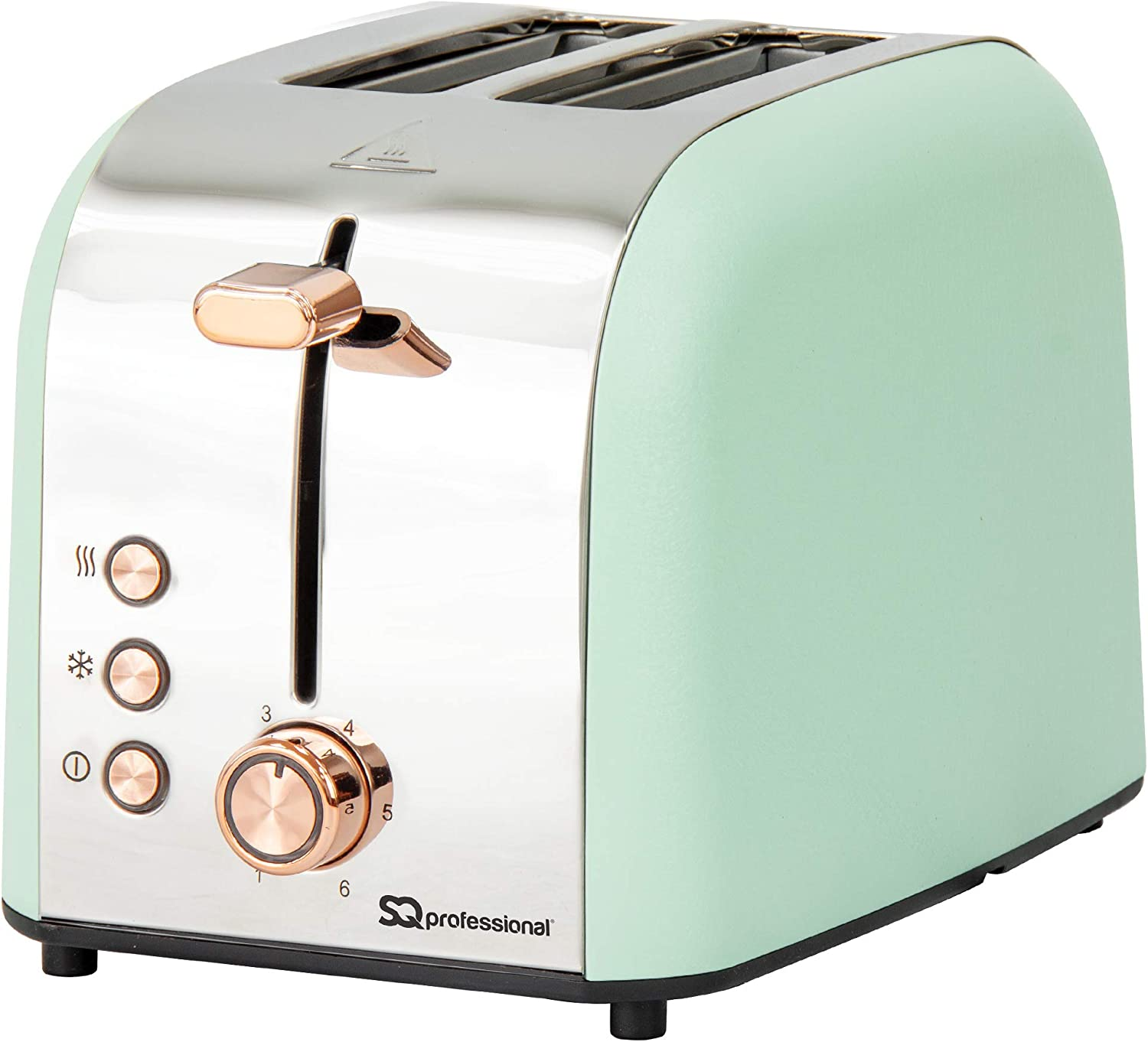 SQ Professional Epoque 3pc Breakfast Set -Kettle with Rose Gold Accents -Temperature Display -2 Slice Toaster with Rose Gold Accents, High-Lift, Wide Slots (Green) Green
