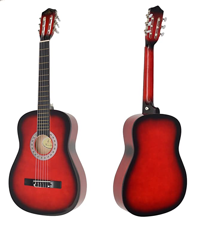 Ts-Ideen 5264 - Guitarra acústica clásica (incluye funda, correa, cuerdas y púa), color rojo y negro: Amazon.es: Instrumentos musicales
