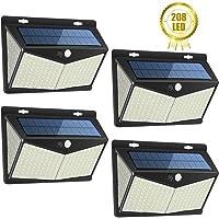 Luz Solar Exterior 208 LED, Luces LED Solares Exteriores con Sensor de Movimiento y 3 Modos de Iluminación, 270º lluminación Focos Solares, Impermeable Lámpara Solar para Jardin,4-Paquete …