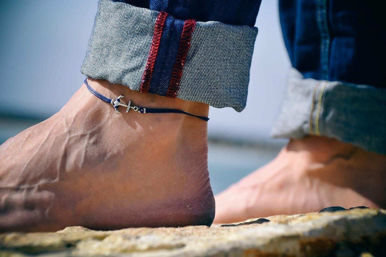 Anchor anklet for men, men's anklet with a silver anchor, blue cord, anklet for men, gift for him, men's ankle bracelet, nautical jewelry men's ankle bracelet