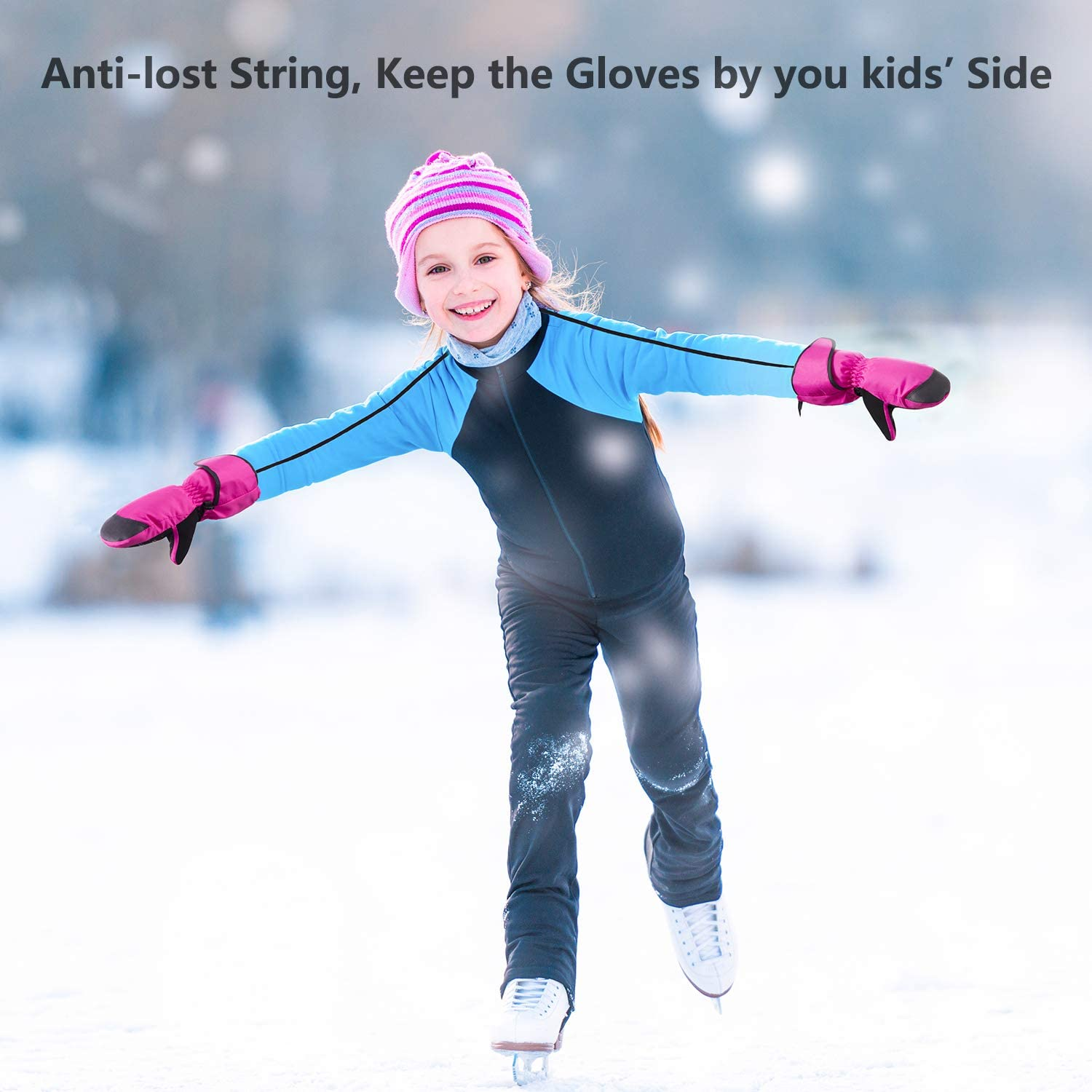 FREETOO Kids Ski Glvoes Waterproof Snow Gloves Mittens for Kids Winter Gloves with String and Long Cuff