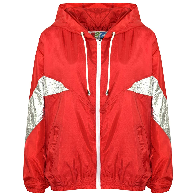 Kids Girls Boys Windbreaker Jackets Block Contrast Hooded Red Cagoule Raincoats