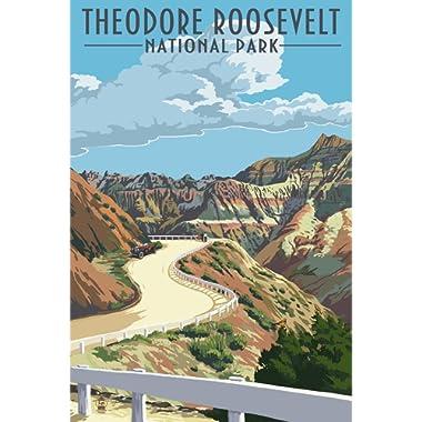 Theodore Roosevelt National Park, North Dakota - Road Scene (9x12 Art Print, Wall Decor Travel Poster)