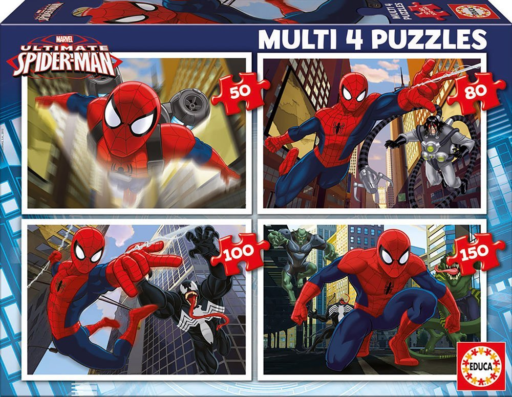 Educa-Borrás 15642 - Spiderman Ultimate 4 puzzles progresivos: 50-80-100-150 piezas Educa Borrás SAU EB15642