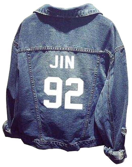 EMILYLE Unisex Bangtan Boys BTS Giacca di Jeans Suga Jin Jimin Jung Kook J-Hope  Rap-Mostro V Fans Donna Cappotto Bianco 92 Jin b905ca6741c5