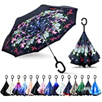 ZOMAKE Inverted Umbrella, Double Layer Reverse Umbrella Large Upside Down Umbrella with UV Protection, Windproof Inside…