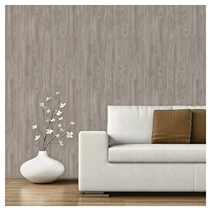 Devine Color Peel And Stick Wallpaper Textured Driftwood Pattern Grey
