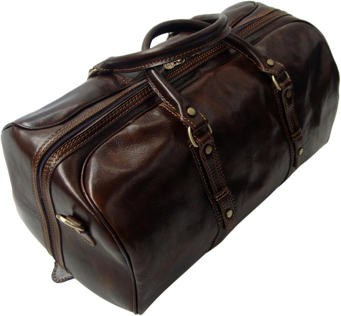 Bolsa de viaje - Equipaje de cabina - Ideal para escapadas de fin de semana - Cuero auténtico italiano - Marrón oscuro - Equipaje de mano
