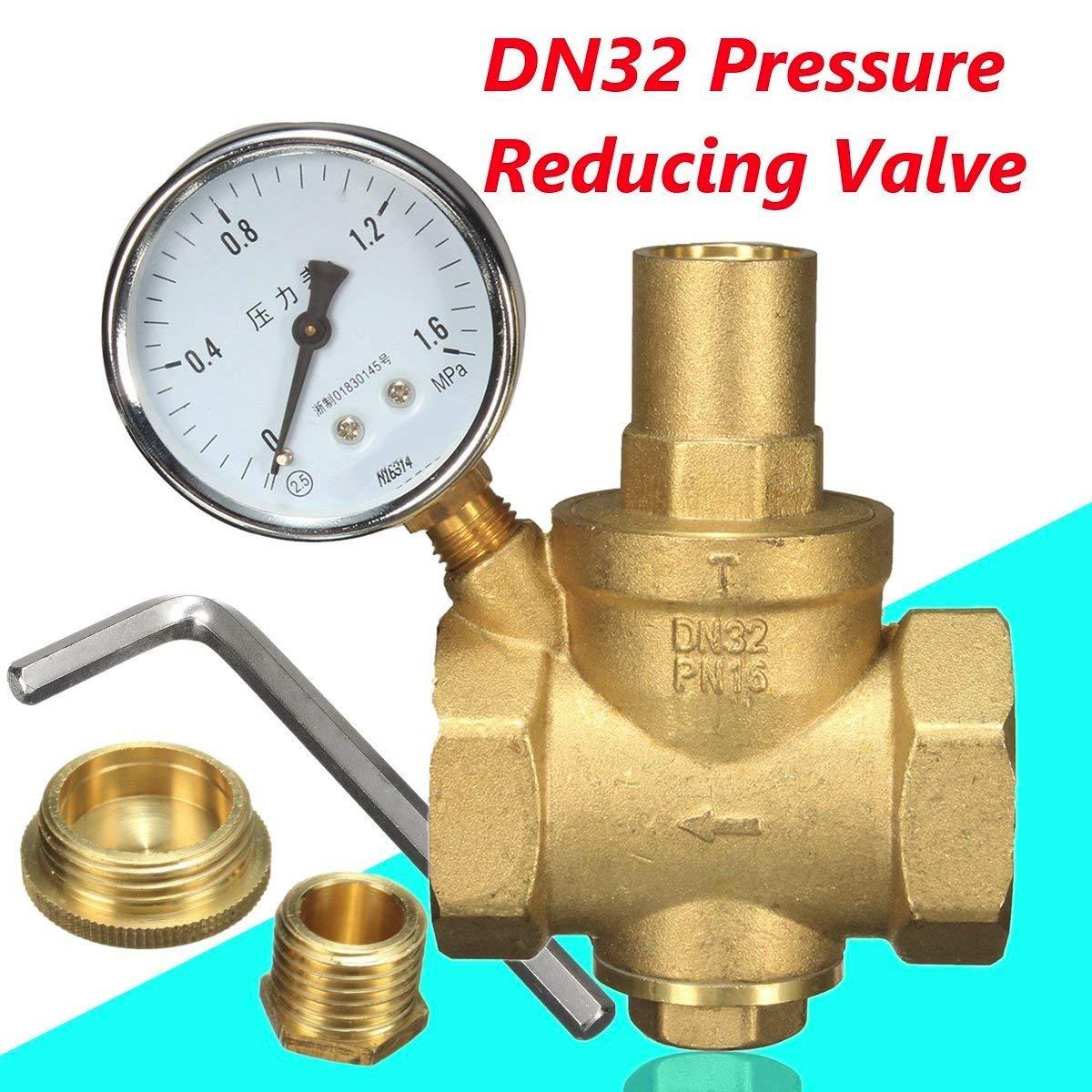 DN32 Brass Water Pressure Reducing Valve + Water Flow Pressure Gauge