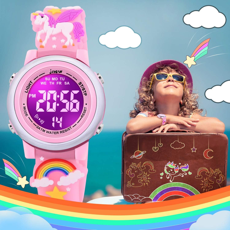Los mejores juguetes regalos para ni/ñas de 3 a 10 a/ños SUPZOE 3D Cartoon impermeable ni/ños relojes para ni/ñas con alarma