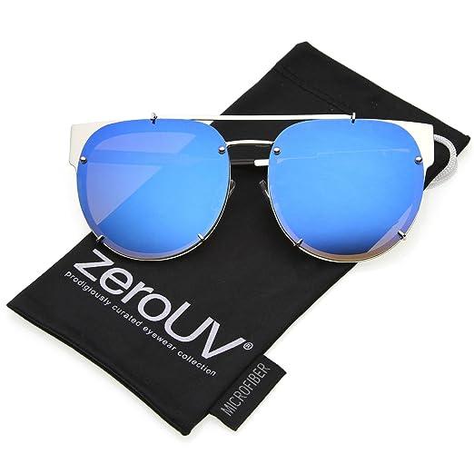 5205e72718 zeroUV - Oversize Metal Double Nose Bridge Horn Rimmed Super Flat Mirrored  Lens Round Sunglasses 60mm