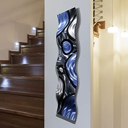 Amazon.com: Silver, Charcoal Grey, Blue and Black Wave Wall Accent ...