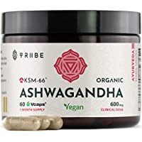 KSM-66 Ashwagandha Vegan - Organic Root Extract Capsules, NO Additives - 60 VCAPS - High Potency 5% Withanolides…