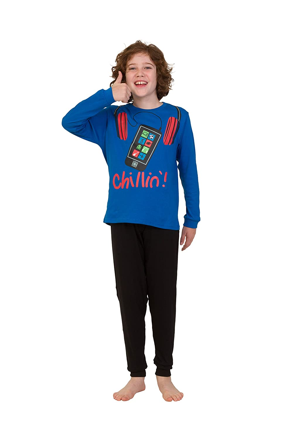 Mobile Phone Pyjamas 11 to 16 Years Blue Cool Boys Chillin!