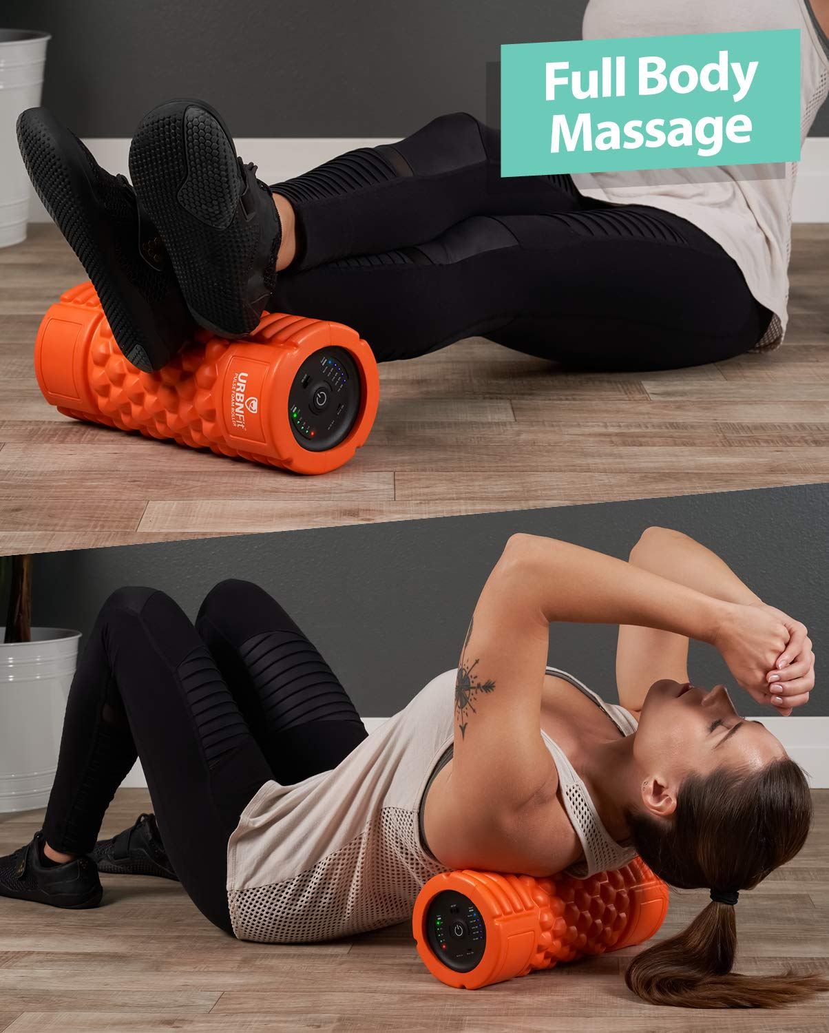 Vibrating Foam Roller - 5-Speed Massager and Roller for Muscle Recovery, Deep Tissue Trigger Point Massage Therapy - 5 Levels from Low To High Intensity Massage For Workouts -Includes Stretching Guide by URBNFit (Image #5)