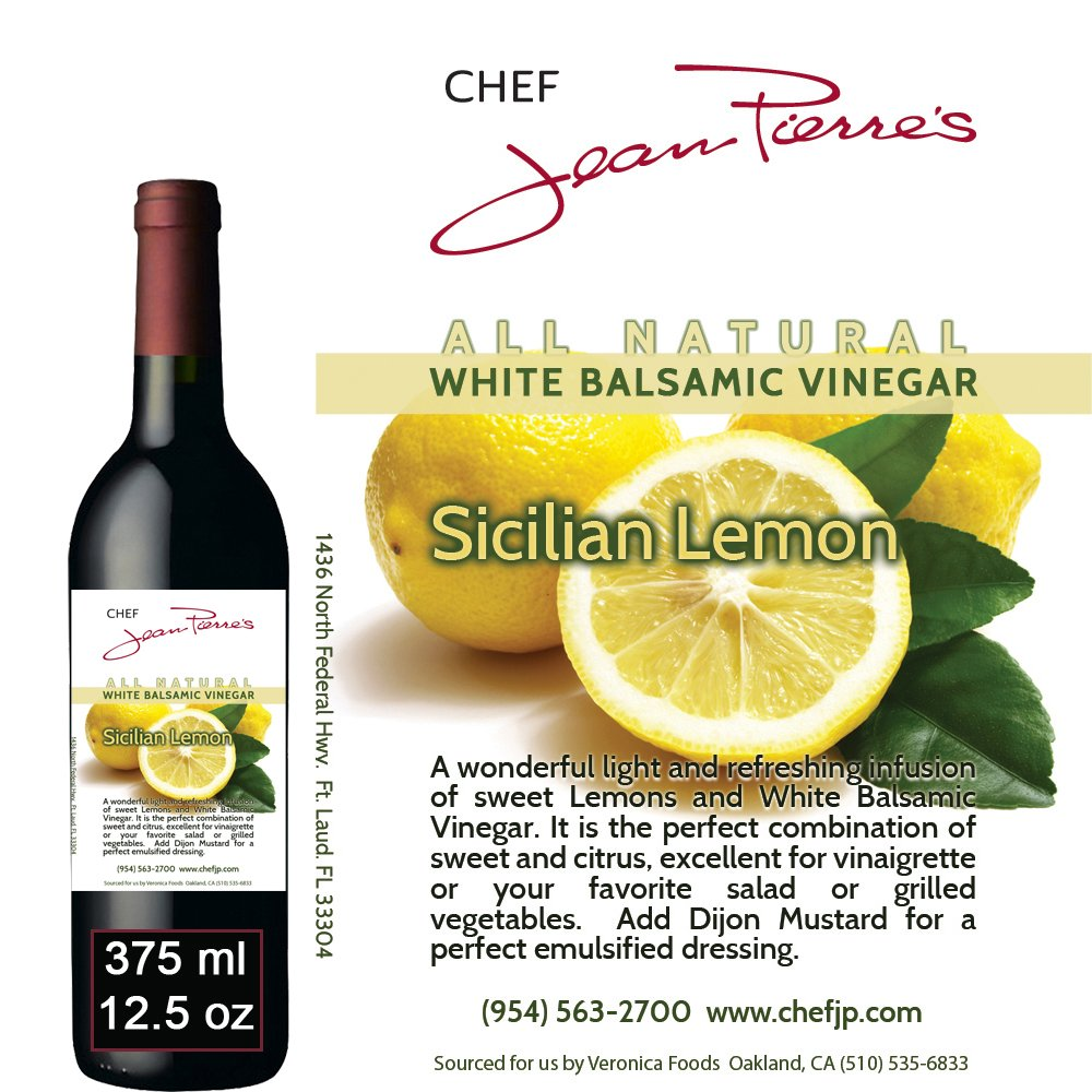 Traditional Barrel aged 12 years ''Sicilian Lemon White Balsamic'' 100% ALL NATURAL Vinegar 375ml (12.5oz) by Chef Jean Pierre