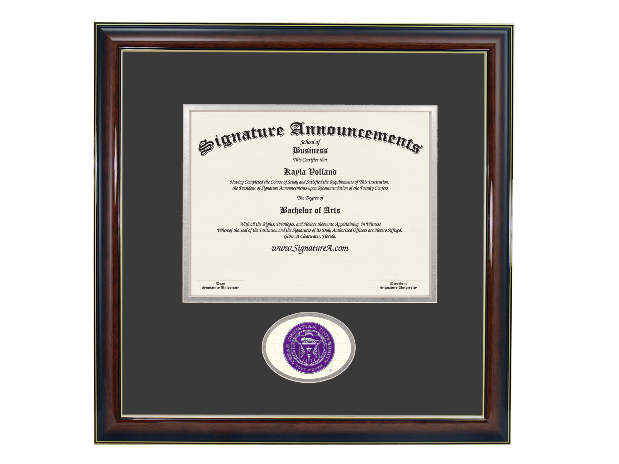 Signature Announcements Texas Christian University (TCU) Undergraduate and Graduate/Professional/Doctor Graduation Diploma Frame with Sculpted Foil Seal (Gloss Mahogany w/Gold Accent, 16 x 16) by Signature Announcements