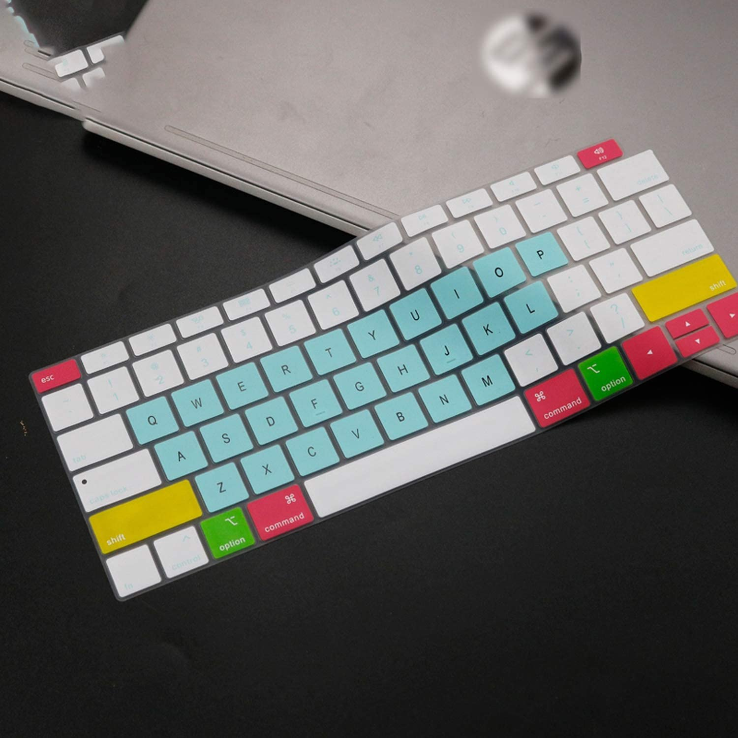 2020 Silicone Keyboard Cover for MacBook Air 13 Inch 2019 2018 Release A1932 Touch Id Waterproof Dust Proof Protective Skin-Whiteblue