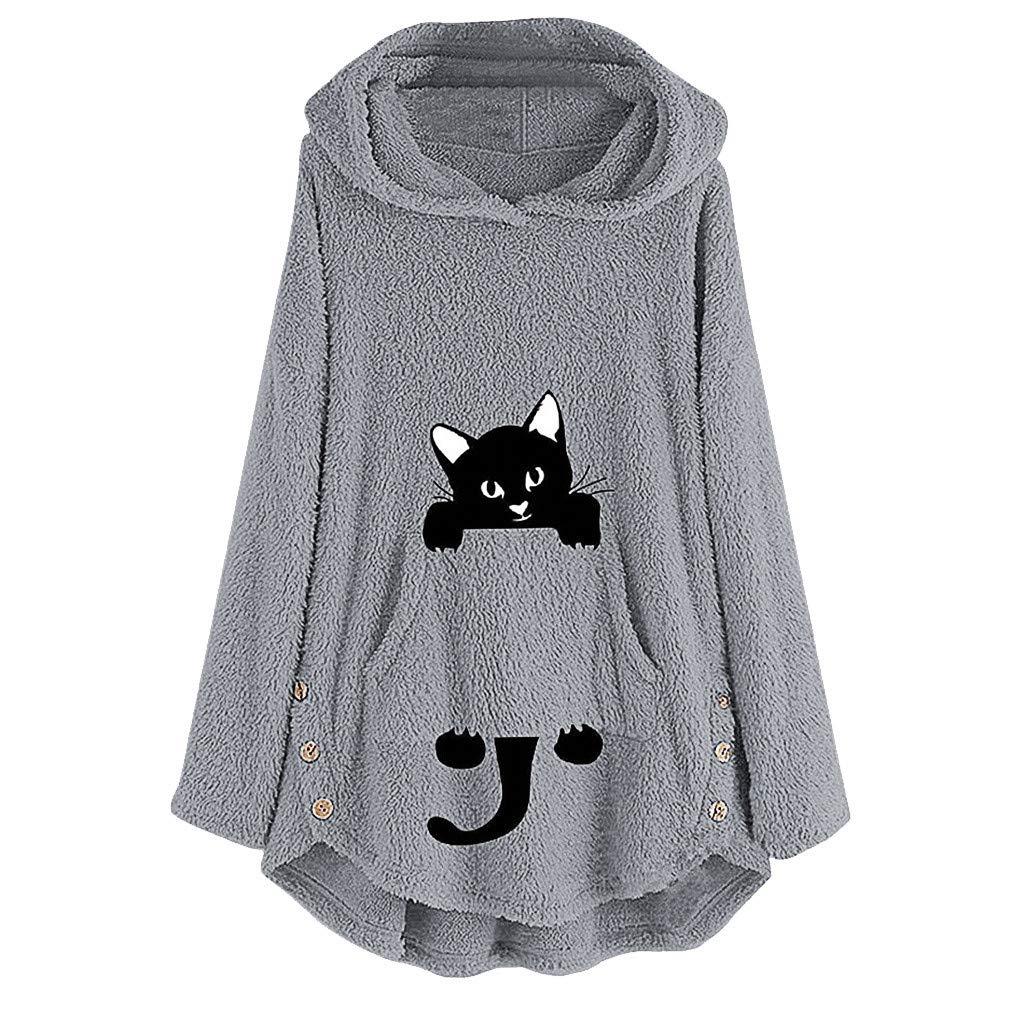 Women Winter Warm Fleece Fur Coat Ladies Winter Thicken Cat Embroidery Plus Size Hooded Pullover Sweatshirt Jacket Gray by Briskorry