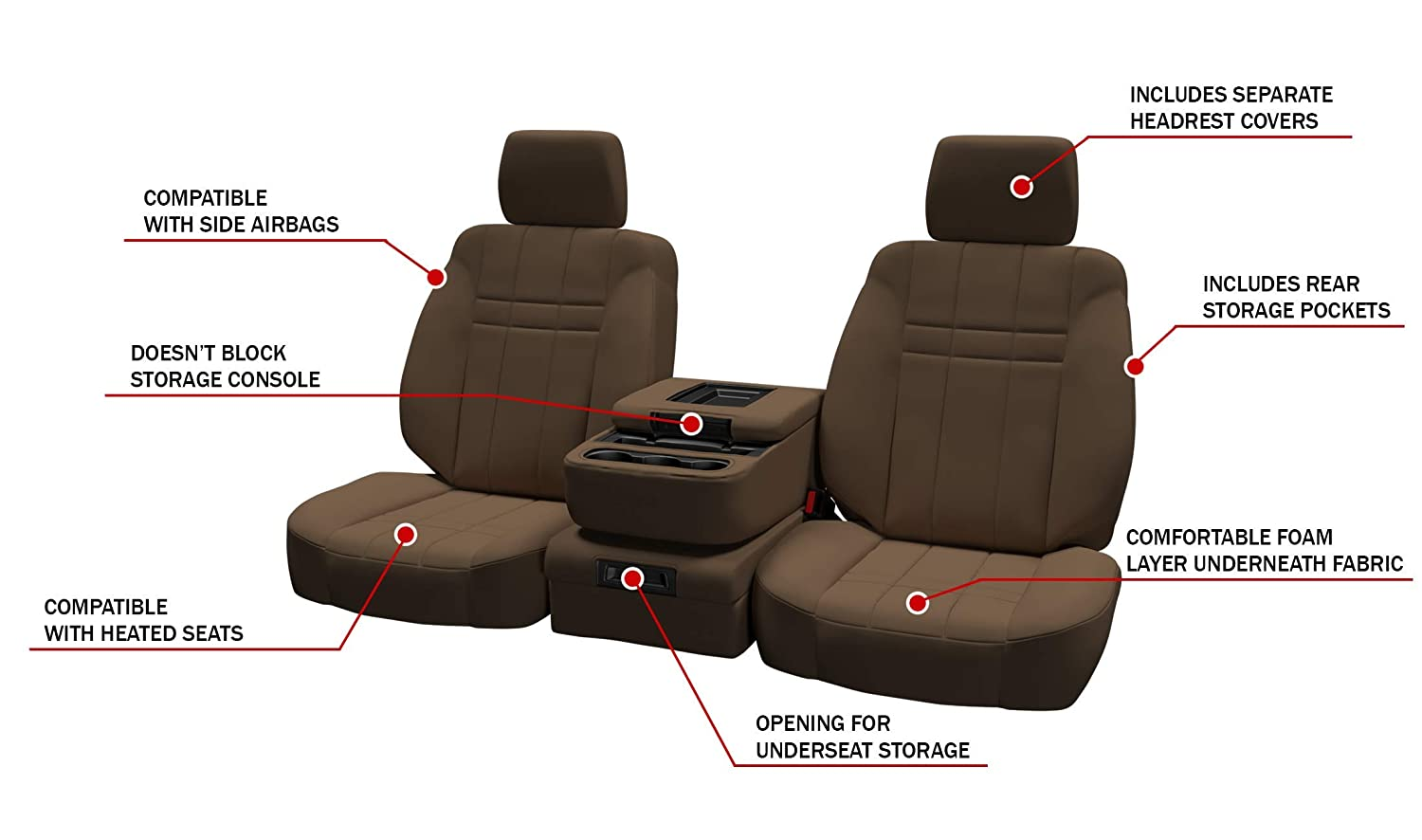 in Black w//Charcoal for 40//20//40 w//Folddown 3 Cup Console and Adjustable Headrests ShearComfort Custom Neoprene-Style Seat Covers for GMC Sierra 2015-2018 Front Seats