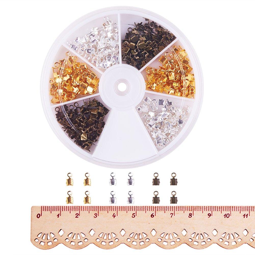 Environ 600pcs Extr/émit/és du Cordon Attaches Embouts Cache N/œuds en Fer pour Creation de Bijoux pandahall Elite 6x3x2.3mm Couleur Melangee