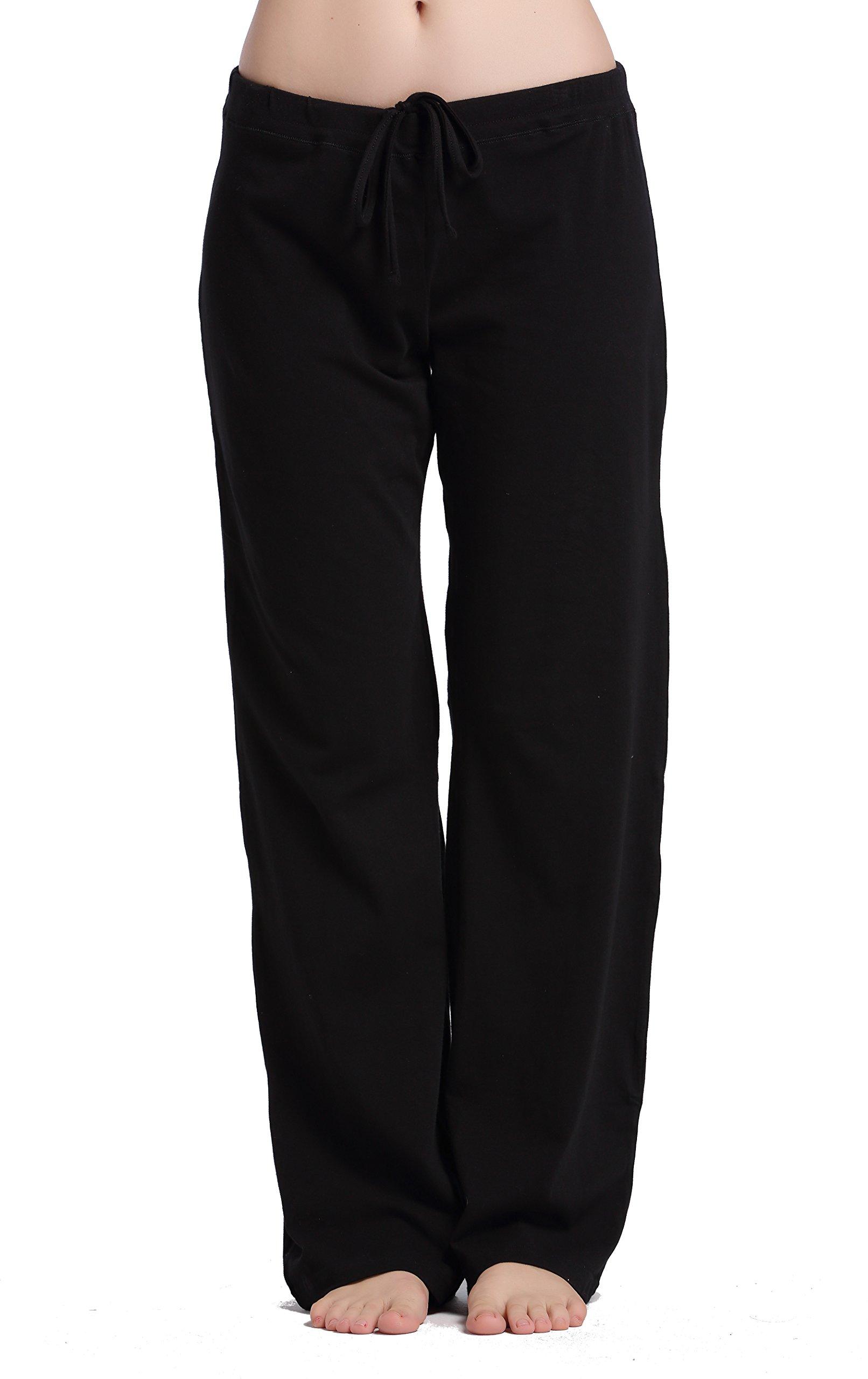 CYZ Women's Basic Stretch Cotton Knit Pajama Sleep Lounge Pants-Black-XL