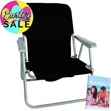 Silla de Playa Plegable Ivy Negra: tome asiento y relájese ...