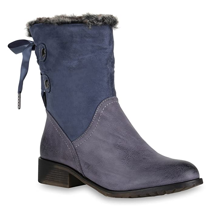 Stiefelparadies Damen Stiefeletten Winter Boots Warm Gefüttert Flandell