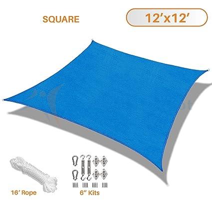 Amazon Com Sunshades Depot 12 X 12 Blue Sun Shade Sail With 6