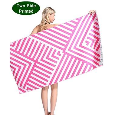 Oversized Microfiber Pool Beach Towel - Quick Fast Dry Sand Free Proof Extra large Big Outdoor Travel Rack Swim Micro Fiber Blanket Thin Yoga Mat Personalized Women Men Adults Body Rose Pink Stripe