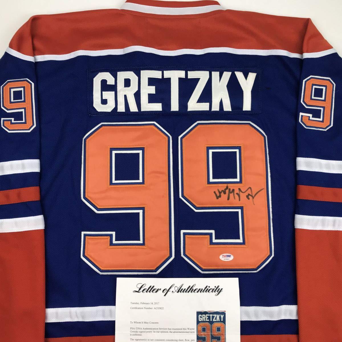 pretty nice 0e45a d9fea Autographed/Signed Wayne Gretzky Edmonton Blue Hockey Jersey ...