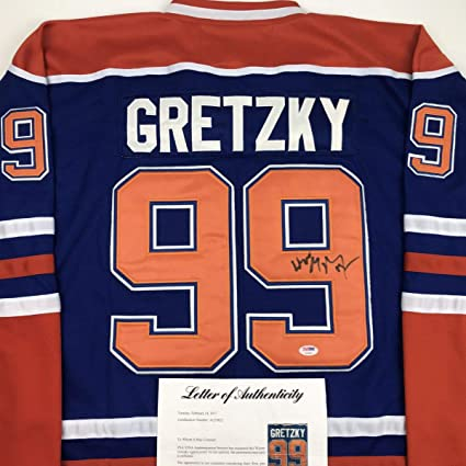 ce197d2c3 Autographed/Signed Wayne Gretzky Edmonton Blue Hockey Jersey PSA/DNA  COA/LOA at Amazon's Sports Collectibles Store