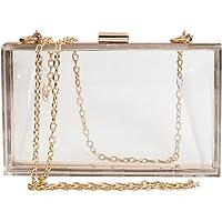 Women Cute Clear Acrylic Box Clutch Stadium Approved Crossbody Purse Evening Bag