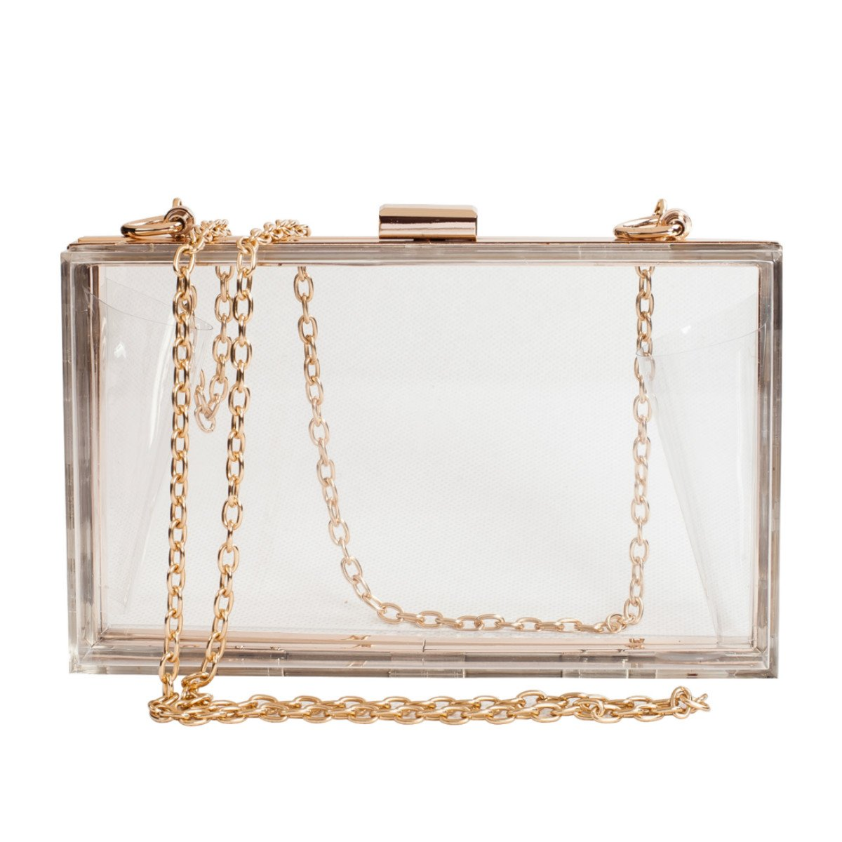 Women Cute Clear Acrylic Box Clutch Stadium Approved Crossbody Purse Evening Bag