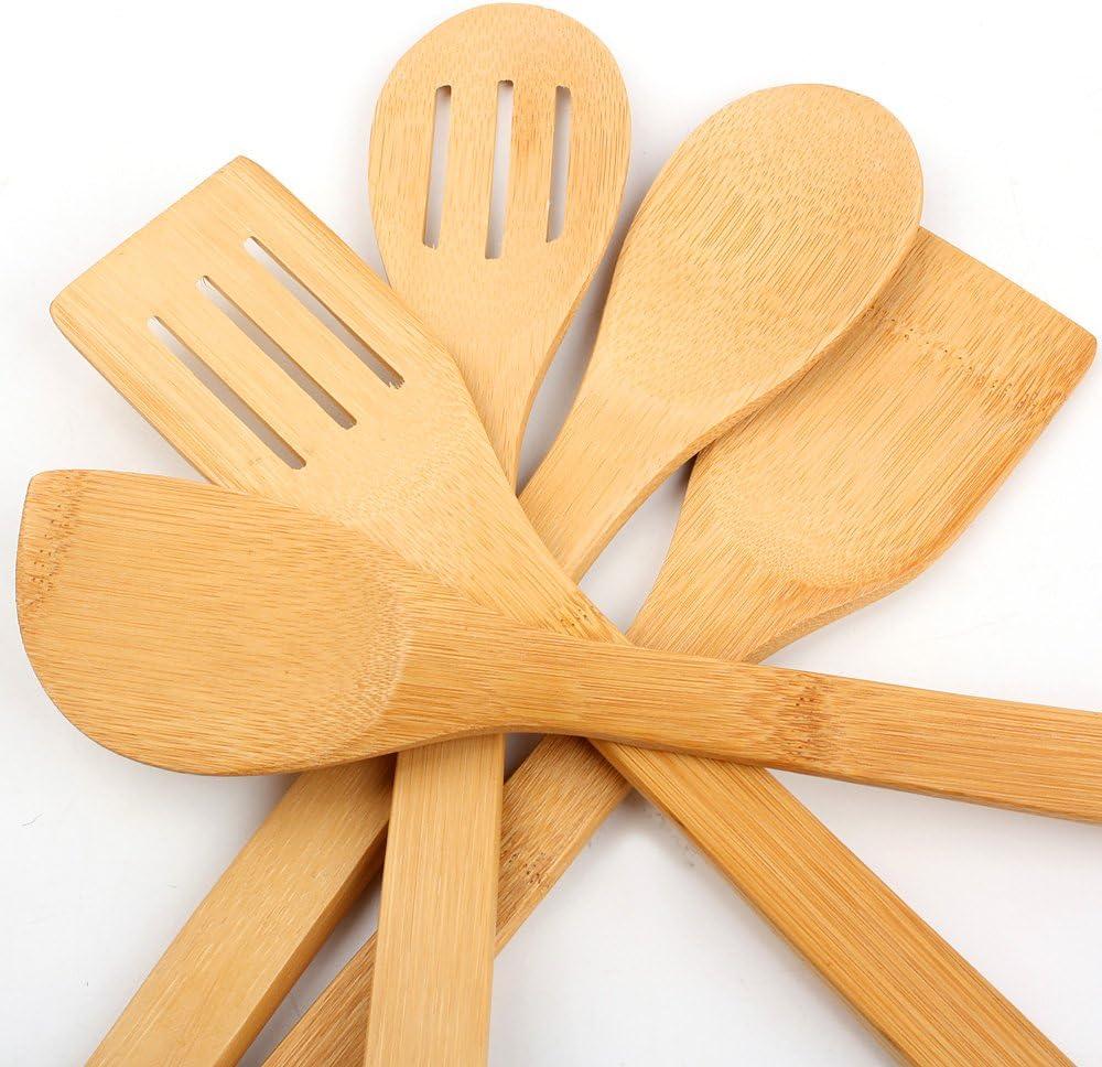 Lot de 5 ustensiles de cuisine en bambou pour casseroles antiadh/ésives