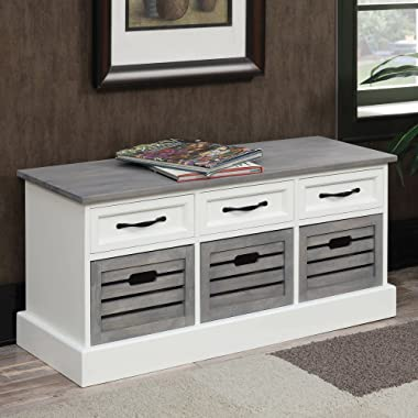 Coaster 501196-CO Storage Bench, White/Weathered Gray