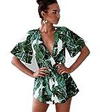 Asskdan Women's Fashion V Neck Leaves Print Short Sleeve Jumpsuit Rompers