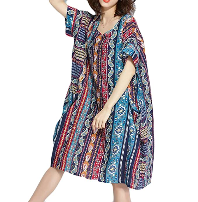 Againg Women Soft Plus Size Chinese Style Loose Printing Stripes