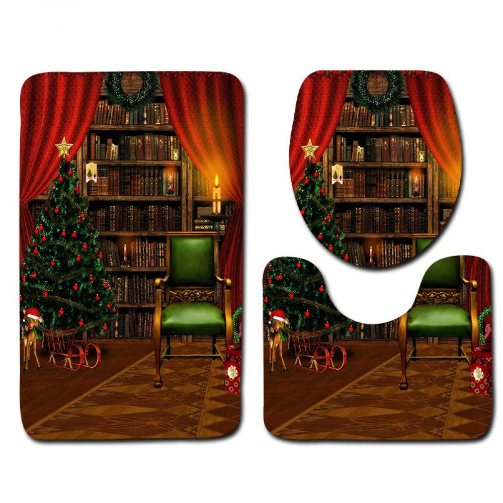 GMYANMTD Weihnachten 3 Stück Badezimmer Matten und Teppiche Waschbar Nicht Fading Badematte Wc Teppich Set Badezimmer Rutschfeste Fußmatte B07HF86ZC8 Duschmatten