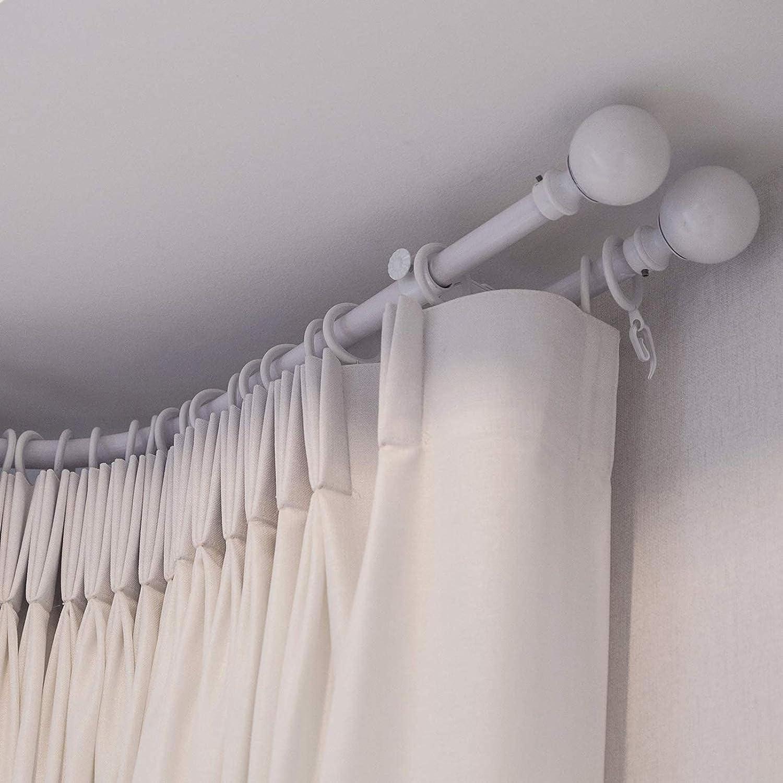 Blanc Diam/ètre int/érieur 30 mm Crochets en plastique Lot de 20 anneaux de rideaux en m/étal