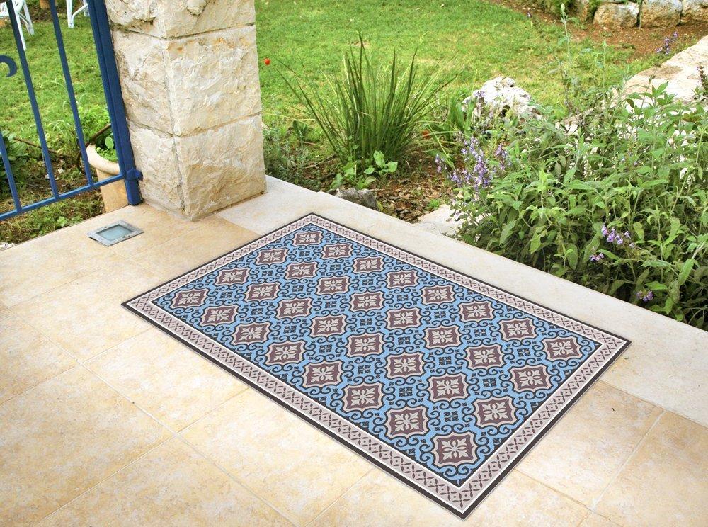 Vinyl floor mat with blue tiles. blue area rug, linoleum style kitchen mat. vinyl mat, vinyl doormat, pvc floor rug.